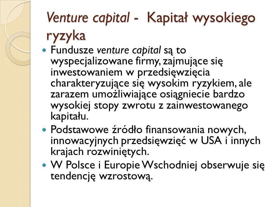 Venture capital - Kapitał wysokiego ryzyka Fundusze venture capital są to wyspecjalizowane firmy, zajmujące się inwestowaniem w przedsięwzięcia charakteryzujące się wysokim ryzykiem, ale zarazem umożliwiające osiągniecie bardzo wysokiej stopy zwrotu z zainwestowanego kapitału.