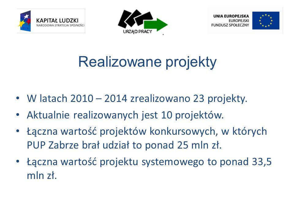 Realizowane projekty W latach 2010 – 2014 zrealizowano 23 projekty.