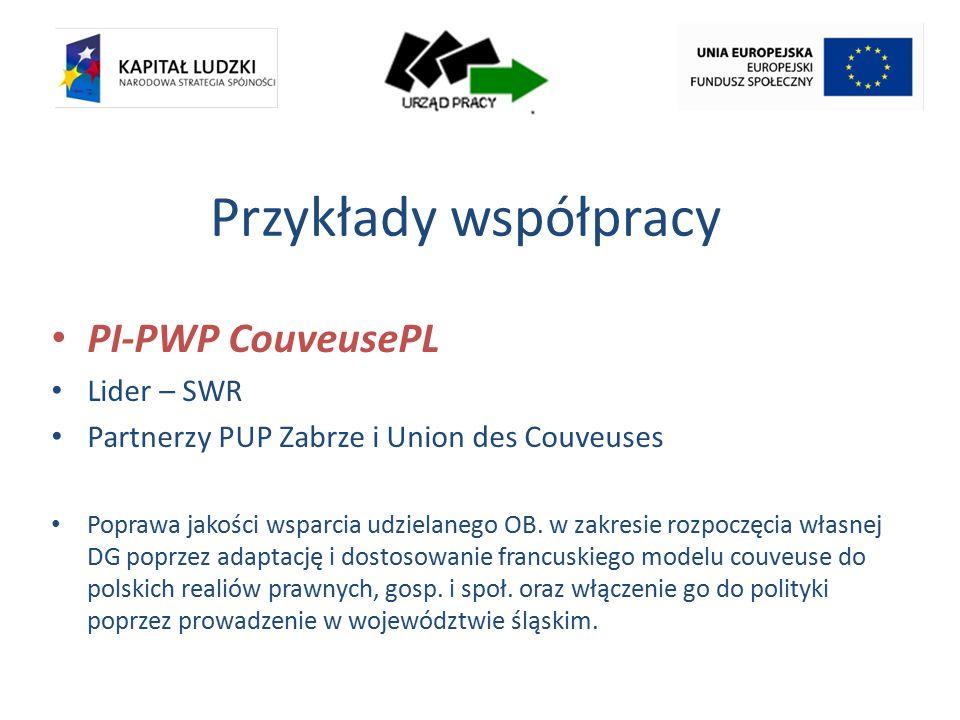 Przykłady współpracy PI-PWP CouveusePL Lider – SWR Partnerzy PUP Zabrze i Union des Couveuses Poprawa jakości wsparcia udzielanego OB.