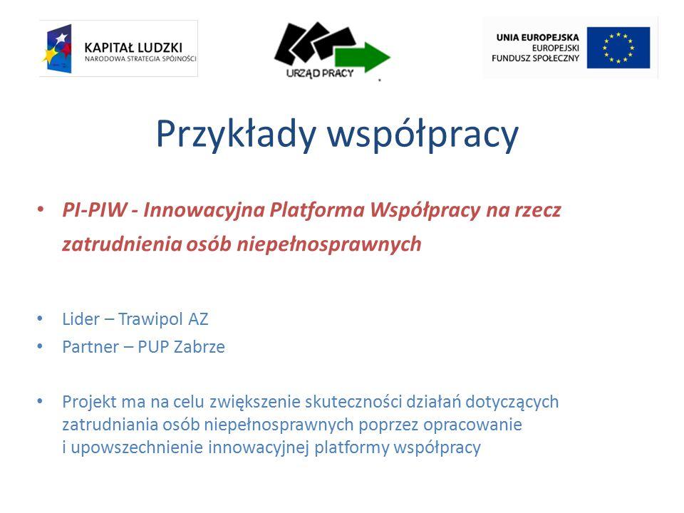 Przykłady współpracy PI-PIW - Innowacyjna Platforma Współpracy na rzecz zatrudnienia osób niepełnosprawnych Lider – Trawipol AZ Partner – PUP Zabrze Projekt ma na celu zwiększenie skuteczności działań dotyczących zatrudniania osób niepełnosprawnych poprzez opracowanie i upowszechnienie innowacyjnej platformy współpracy