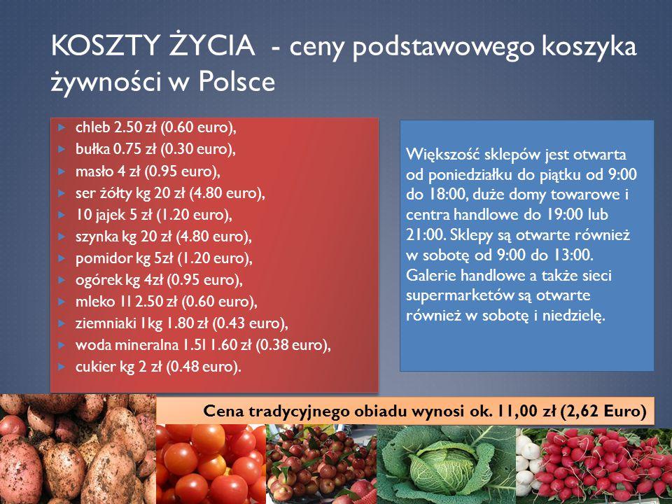KOSZTY ŻYCIA - ceny podstawowego koszyka żywności w Polsce  chleb 2.50 zł (0.60 euro),  bułka 0.75 zł (0.30 euro),  masło 4 zł (0.95 euro),  ser ż
