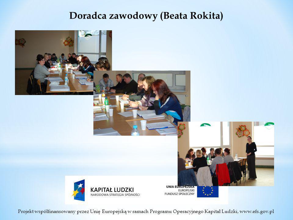Projekt współfinansowany przez Unię Europejską w ramach Programu Operacyjnego Kapitał Ludzki, www.efs.gov.pl Doradca zawodowy (Beata Rokita)