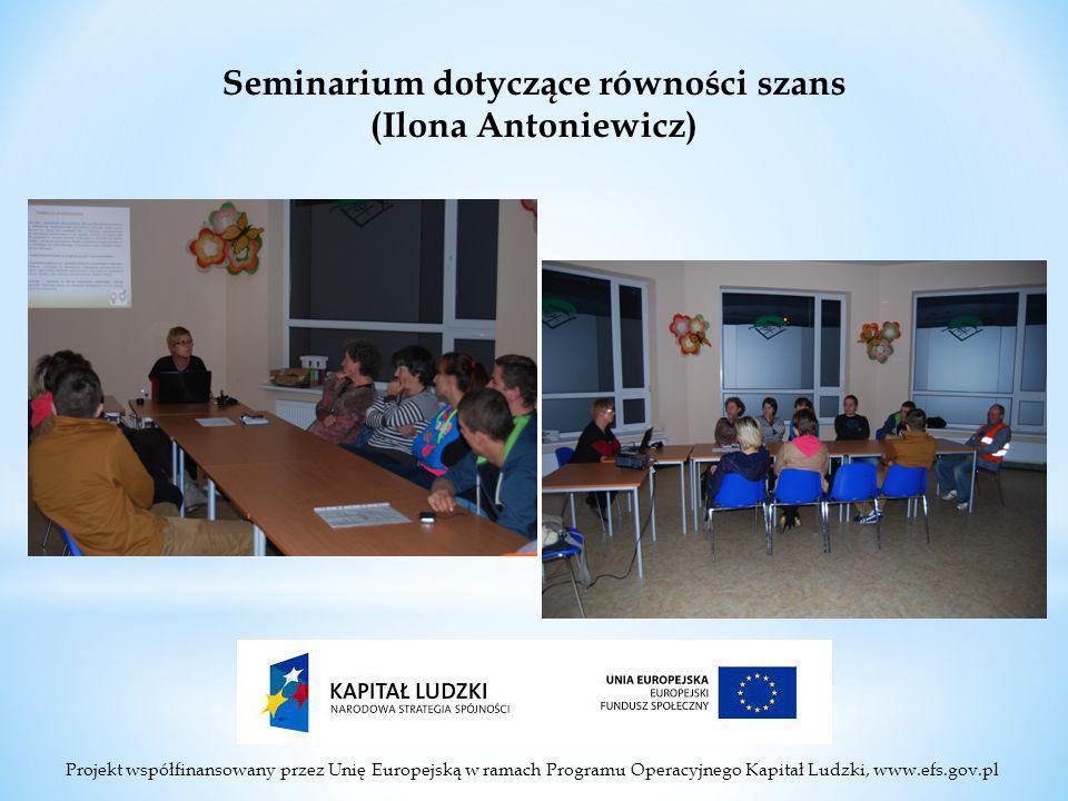 Projekt współfinansowany przez Unię Europejską w ramach Programu Operacyjnego Kapitał Ludzki, www.efs.gov.pl Seminarium dotyczące równości szans (Ilona Antoniewicz)