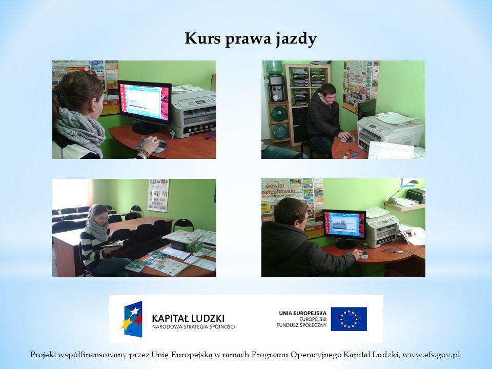 Projekt współfinansowany przez Unię Europejską w ramach Programu Operacyjnego Kapitał Ludzki, www.efs.gov.pl Kurs prawa jazdy