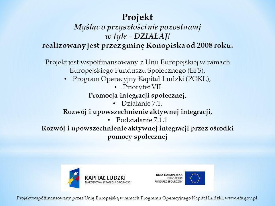 Projekt współfinansowany przez Unię Europejską w ramach Programu Operacyjnego Kapitał Ludzki, www.efs.gov.pl Projekt Myśląc o przyszłości nie pozostawaj w tyle – DZIAŁAJ.