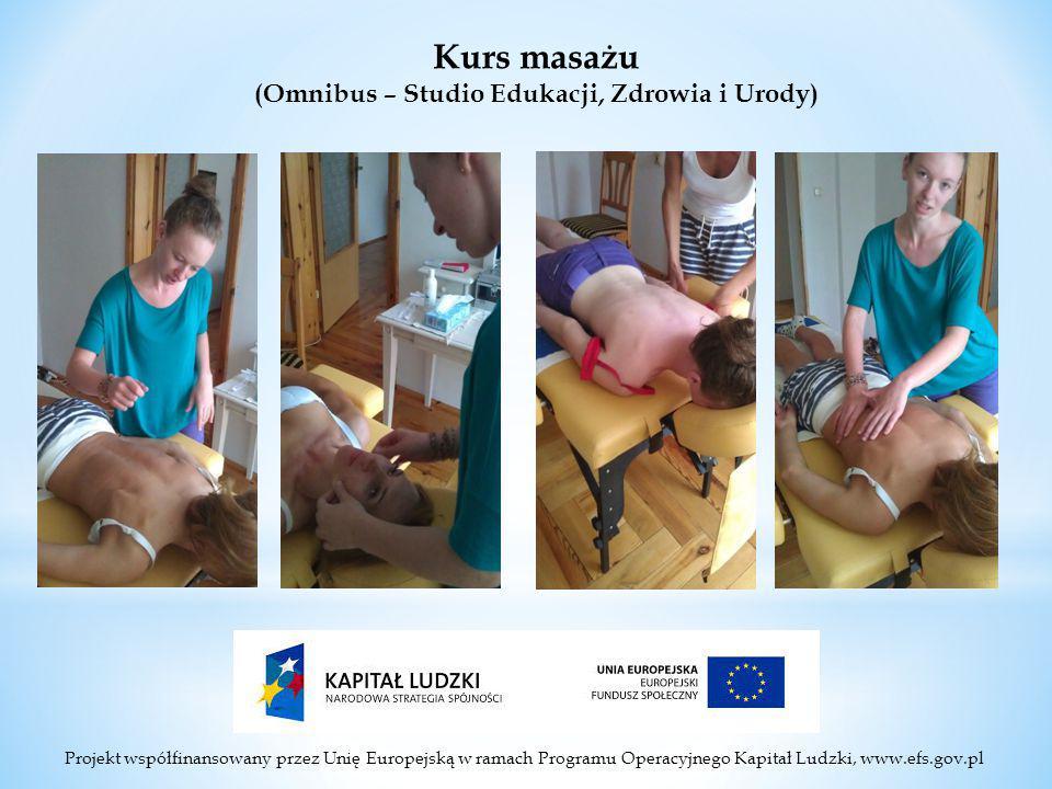 Projekt współfinansowany przez Unię Europejską w ramach Programu Operacyjnego Kapitał Ludzki, www.efs.gov.pl Kurs masażu (Omnibus – Studio Edukacji, Zdrowia i Urody)