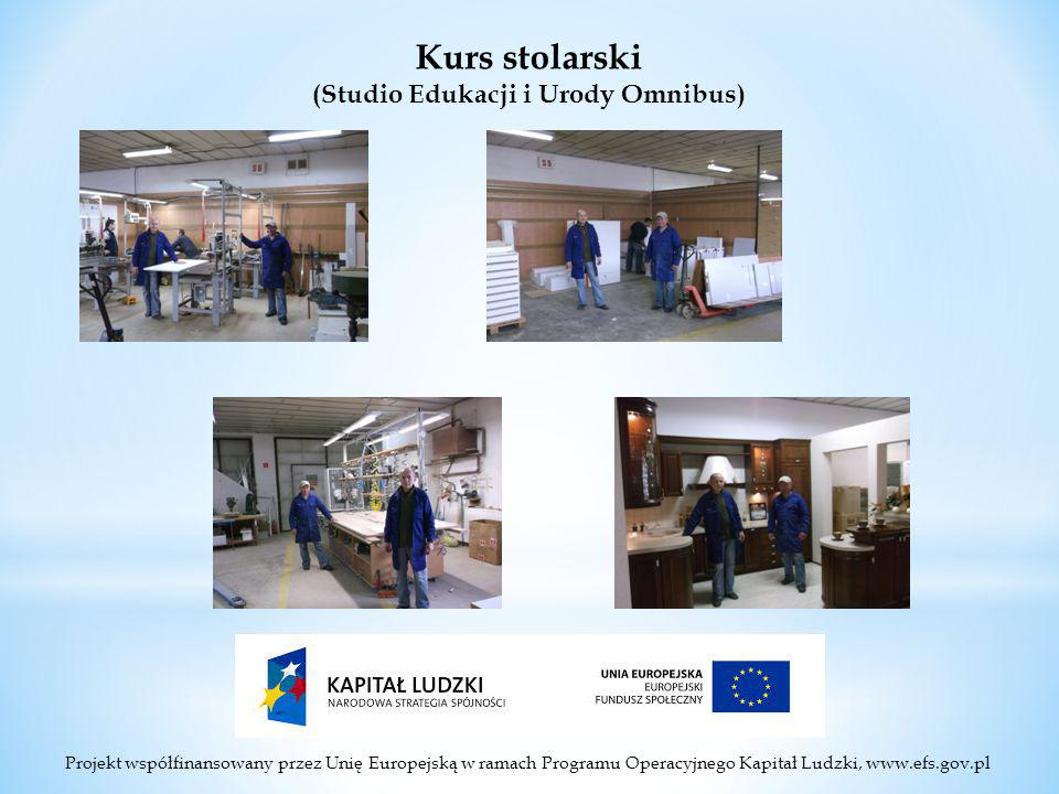 Projekt współfinansowany przez Unię Europejską w ramach Programu Operacyjnego Kapitał Ludzki, www.efs.gov.pl Kurs stolarski (Studio Edukacji i Urody Omnibus)