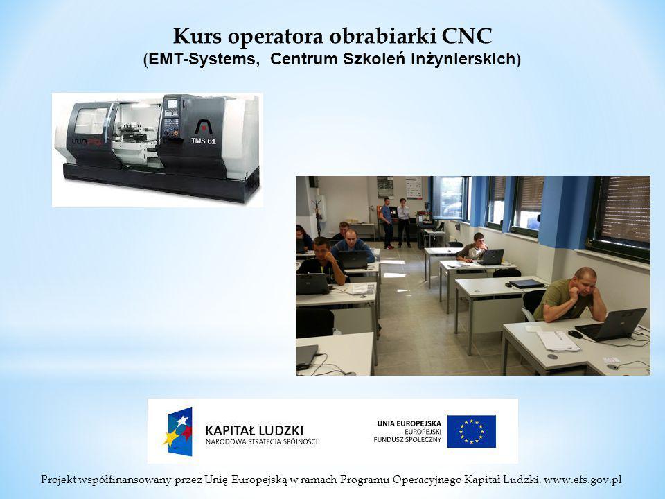 Projekt współfinansowany przez Unię Europejską w ramach Programu Operacyjnego Kapitał Ludzki, www.efs.gov.pl Kurs operatora obrabiarki CNC ( EMT-Systems, Centrum Szkoleń Inżynierskich )