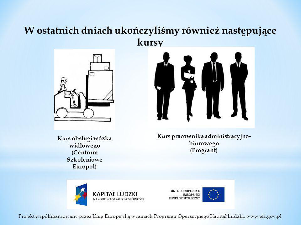 Projekt współfinansowany przez Unię Europejską w ramach Programu Operacyjnego Kapitał Ludzki, www.efs.gov.pl W ostatnich dniach ukończyliśmy również następujące kursy Kurs obsługi wózka widłowego (Centrum Szkoleniowe Europol) Kurs pracownika administracyjno- biurowego (Progrant)