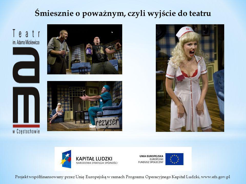 Projekt współfinansowany przez Unię Europejską w ramach Programu Operacyjnego Kapitał Ludzki, www.efs.gov.pl Śmiesznie o poważnym, czyli wyjście do teatru