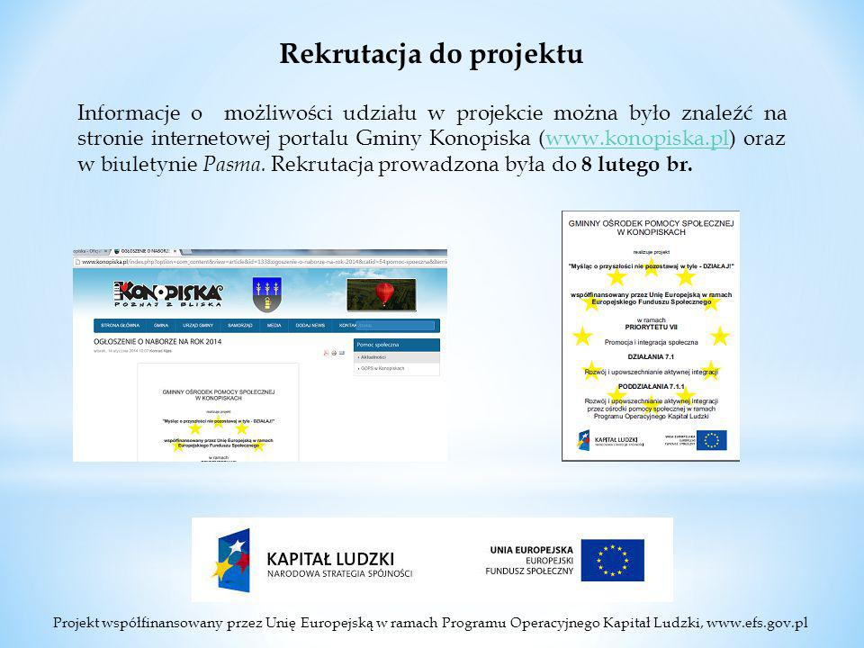 Projekt współfinansowany przez Unię Europejską w ramach Programu Operacyjnego Kapitał Ludzki, www.efs.gov.pl Rekrutacja do projektu Informacje o możliwości udziału w projekcie można było znaleźć na stronie internetowej portalu Gminy Konopiska (www.konopiska.pl) oraz w biuletynie Pasma.