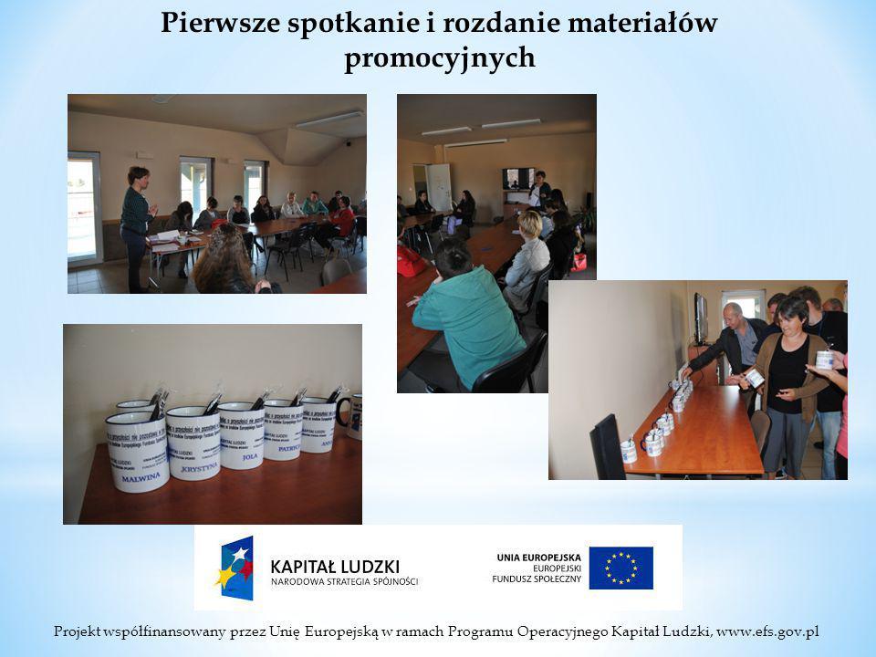 Projekt współfinansowany przez Unię Europejską w ramach Programu Operacyjnego Kapitał Ludzki, www.efs.gov.pl Pierwsze spotkanie i rozdanie materiałów promocyjnych