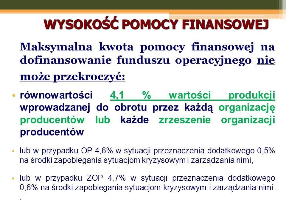 WYSOKOŚĆ POMOCY FINANSOWEJ Maksymalna kwota pomocy finansowej na dofinansowanie funduszu operacyjnego nie może przekroczyć: równowartości 4,1 % wartości produkcji wprowadzanej do obrotu przez każdą organizację producentów lub każde zrzeszenie organizacji producentów lub w przypadku OP 4,6% w sytuacji przeznaczenia dodatkowego 0,5% na środki zapobiegania sytuacjom kryzysowym i zarządzania nimi, lub w przypadku ZOP 4,7% w sytuacji przeznaczenia dodatkowego 0,6% na środki zapobiegania sytuacjom kryzysowym i zarządzania nimi..
