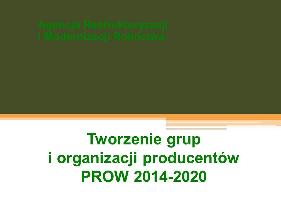 Agencja Restrukturyzacji i Modernizacji Rolnictwa Tworzenie grup i organizacji producentów PROW 2014-2020