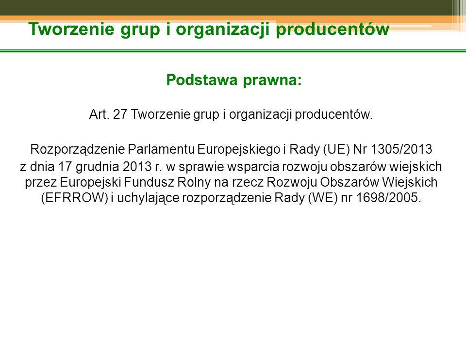 Tworzenie grup i organizacji producentów Podstawa prawna: Art. 27 Tworzenie grup i organizacji producentów. Rozporządzenie Parlamentu Europejskiego i