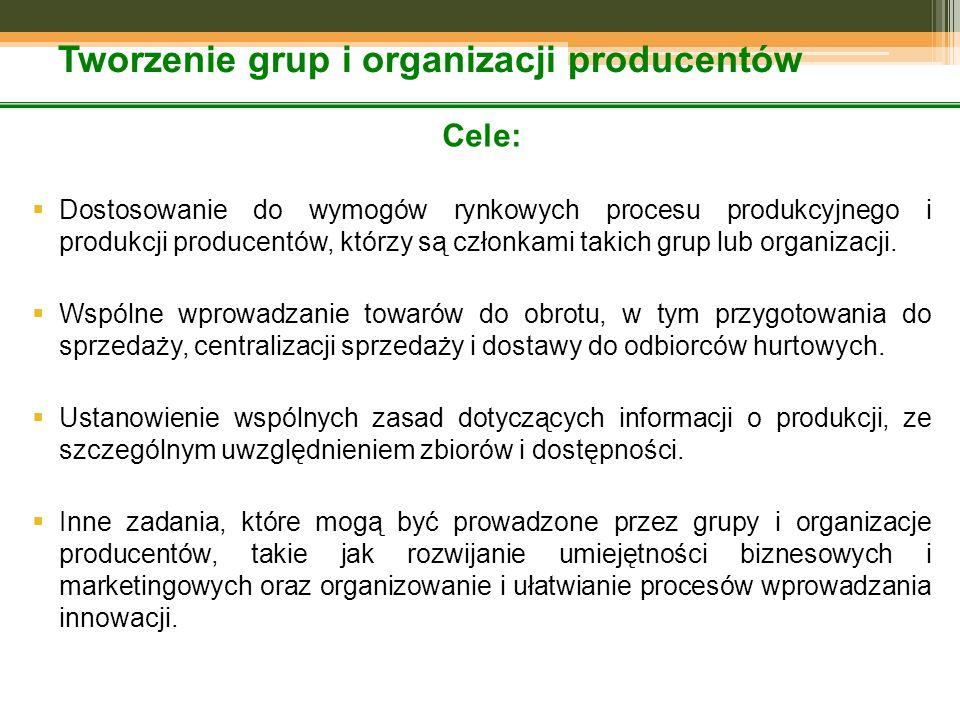 Tworzenie grup i organizacji producentów Cele:  Dostosowanie do wymogów rynkowych procesu produkcyjnego i produkcji producentów, którzy są członkami takich grup lub organizacji.