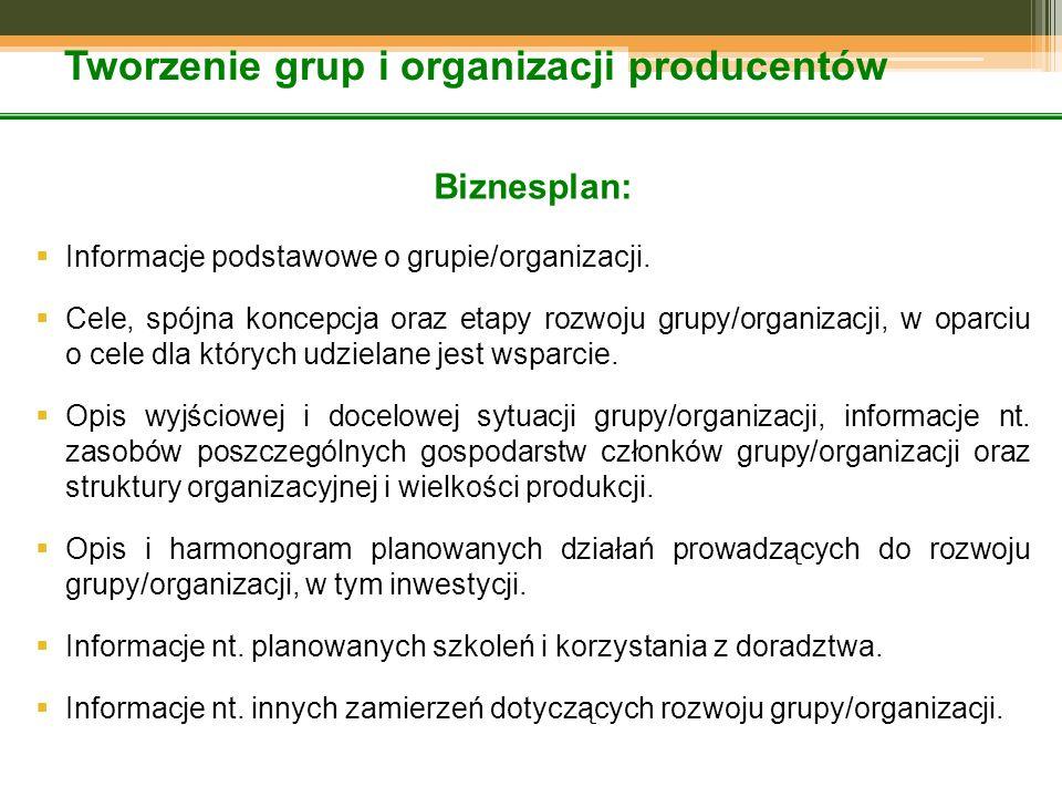 Tworzenie grup i organizacji producentów Biznesplan:  Informacje podstawowe o grupie/organizacji.  Cele, spójna koncepcja oraz etapy rozwoju grupy/o
