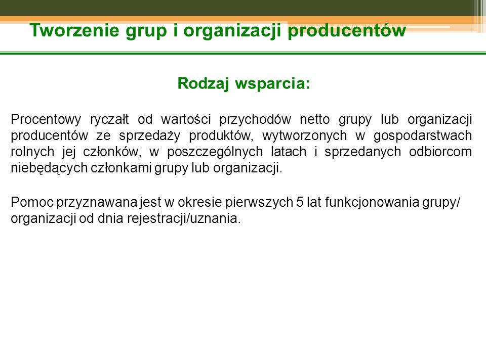 Tworzenie grup i organizacji producentów Rodzaj wsparcia: Procentowy ryczałt od wartości przychodów netto grupy lub organizacji producentów ze sprzedaży produktów, wytworzonych w gospodarstwach rolnych jej członków, w poszczególnych latach i sprzedanych odbiorcom niebędących członkami grupy lub organizacji.