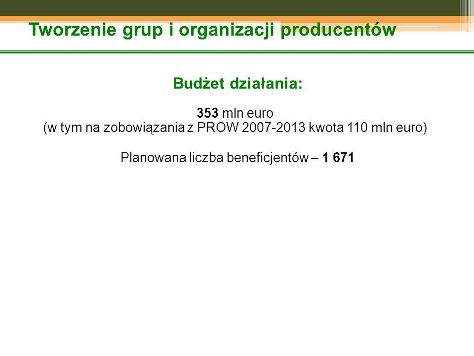 Tworzenie grup i organizacji producentów Budżet działania: 353 mln euro (w tym na zobowiązania z PROW 2007-2013 kwota 110 mln euro) Planowana liczba beneficjentów – 1 671