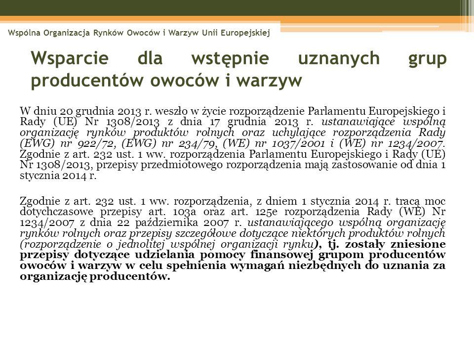 W dniu 20 grudnia 2013 r. weszło w życie rozporządzenie Parlamentu Europejskiego i Rady (UE) Nr 1308/2013 z dnia 17 grudnia 2013 r. ustanawiające wspó