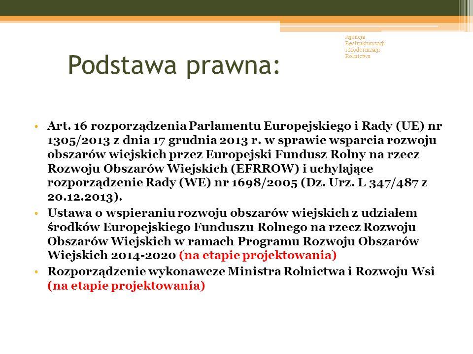 Podstawa prawna: Art. 16 rozporządzenia Parlamentu Europejskiego i Rady (UE) nr 1305/2013 z dnia 17 grudnia 2013 r. w sprawie wsparcia rozwoju obszaró