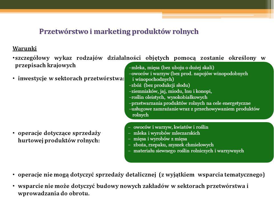 Przetwórstwo i marketing produktów rolnych Warunki szczegółowy wykaz rodzajów działalności objętych pomocą zostanie określony w przepisach krajowych inwestycje w sektorach przetwórstwa: operacje dotyczące sprzedaży hurtowej produktów rolnych: operacje nie mogą dotyczyć sprzedaży detalicznej (z wyjątkiem wsparcia tematycznego) wsparcie nie może dotyczyć budowy nowych zakładów w sektorach przetwórstwa i wprowadzania do obrotu.