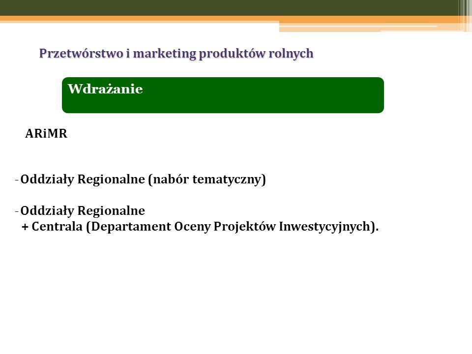 Przetwórstwo i marketing produktów rolnych _ Oddziały Regionalne (nabór tematyczny) _ Oddziały Regionalne + Centrala (Departament Oceny Projektów Inwestycyjnych).