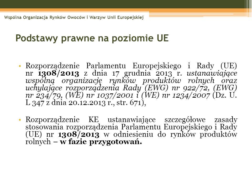 Podstawy prawne na poziomie UE Rozporządzenie Parlamentu Europejskiego i Rady (UE) nr 1308/2013 z dnia 17 grudnia 2013 r. ustanawiające wspólną organi