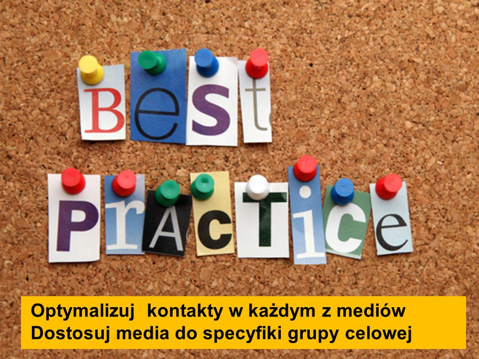 Optymalizuj kontakty w każdym z mediów Dostosuj media do specyfiki grupy celowej