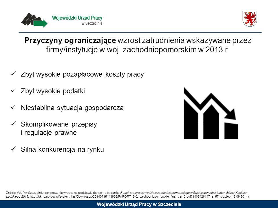Wojewódzki Urząd Pracy w Szczecinie Przyczyny ograniczające wzrost zatrudnienia wskazywane przez firmy/instytucje w woj. zachodniopomorskim w 2013 r.