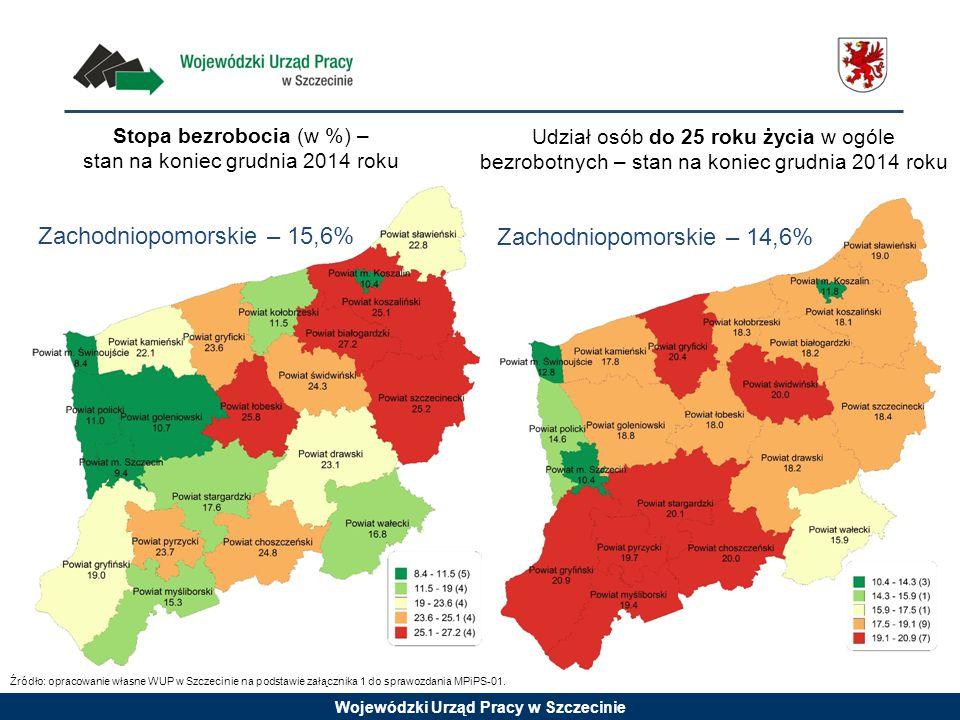 Wojewódzki Urząd Pracy w Szczecinie Stopa bezrobocia (w %) – stan na koniec grudnia 2014 roku Udział osób do 25 roku życia w ogóle bezrobotnych – stan na koniec grudnia 2014 roku Zachodniopomorskie – 15,6% Zachodniopomorskie – 14,6% Źródło: opracowanie własne WUP w Szczecinie na podstawie załącznika 1 do sprawozdania MPiPS-01.