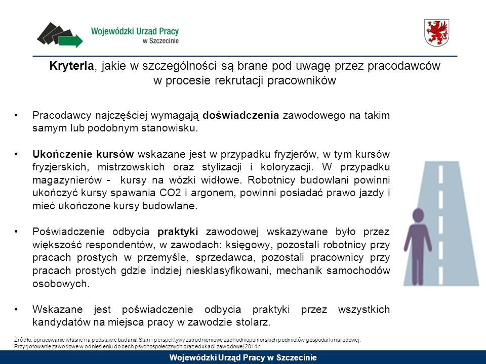 Wojewódzki Urząd Pracy w Szczecinie Pracodawcy najczęściej wymagają doświadczenia zawodowego na takim samym lub podobnym stanowisku. Ukończenie kursów