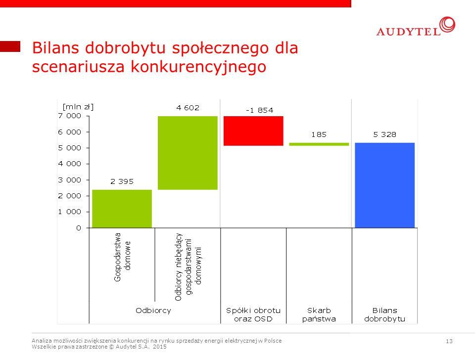 Analiza możliwości zwiększenia konkurencji na rynku sprzedaży energii elektrycznej w Polsce Wszelkie prawa zastrzeżone © Audytel S.A. 2015 13 Bilans d