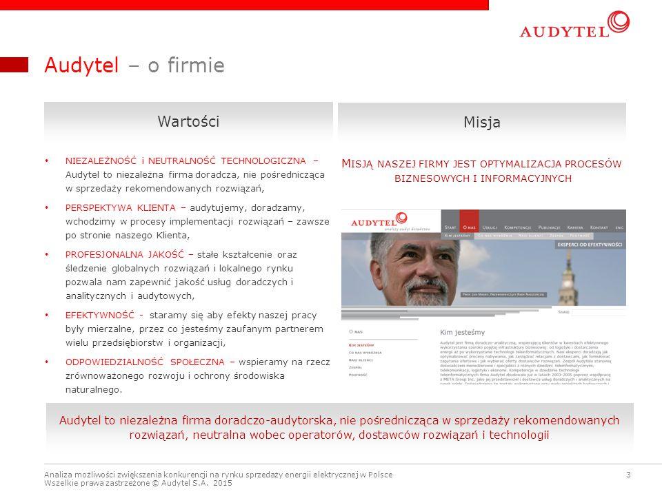 3 Analiza możliwości zwiększenia konkurencji na rynku sprzedaży energii elektrycznej w Polsce Wszelkie prawa zastrzeżone © Audytel S.A. 2015 Audytel –