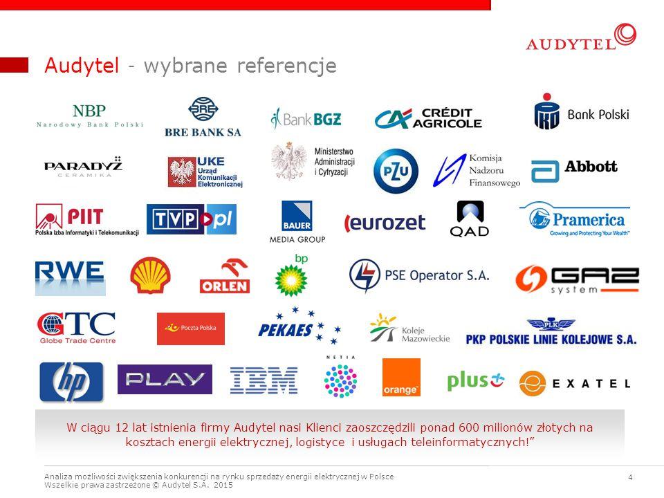 Analiza możliwości zwiększenia konkurencji na rynku sprzedaży energii elektrycznej w Polsce Wszelkie prawa zastrzeżone © Audytel S.A. 2015 4 Audytel –