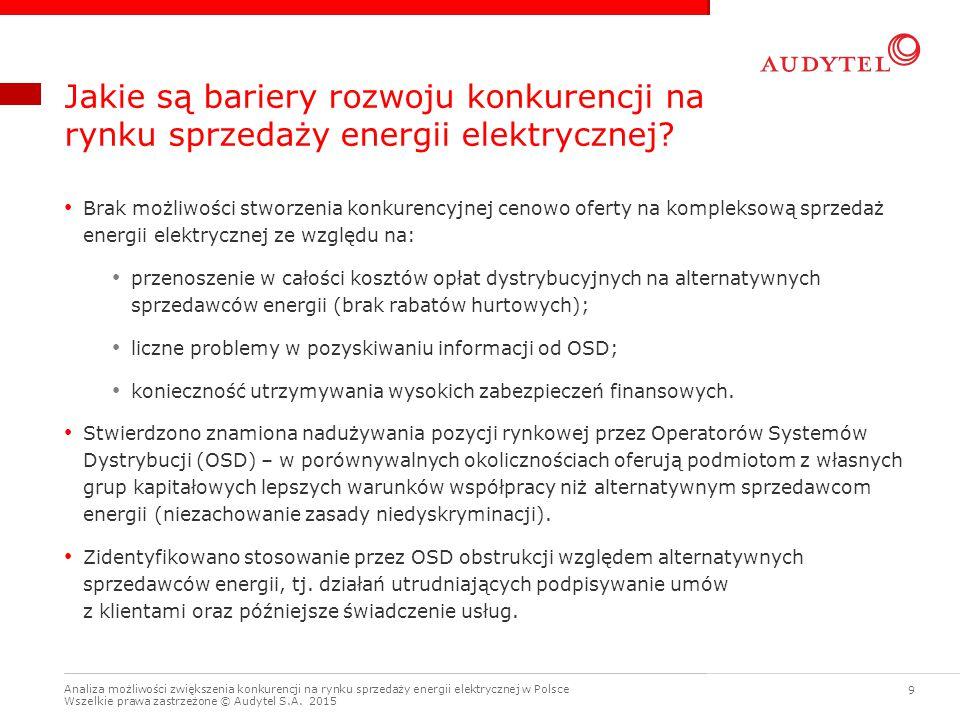 Analiza możliwości zwiększenia konkurencji na rynku sprzedaży energii elektrycznej w Polsce Wszelkie prawa zastrzeżone © Audytel S.A. 2015 9 Jakie są