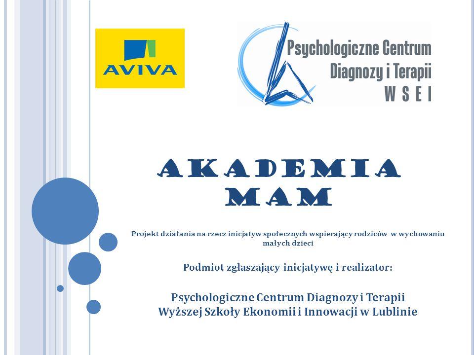AKADEMIA MAM Projekt działania na rzecz inicjatyw społecznych wspierający rodziców w wychowaniu małych dzieci Podmiot zgłaszający inicjatywę i realizator: Psychologiczne Centrum Diagnozy i Terapii Wyższej Szkoły Ekonomii i Innowacji w Lublinie