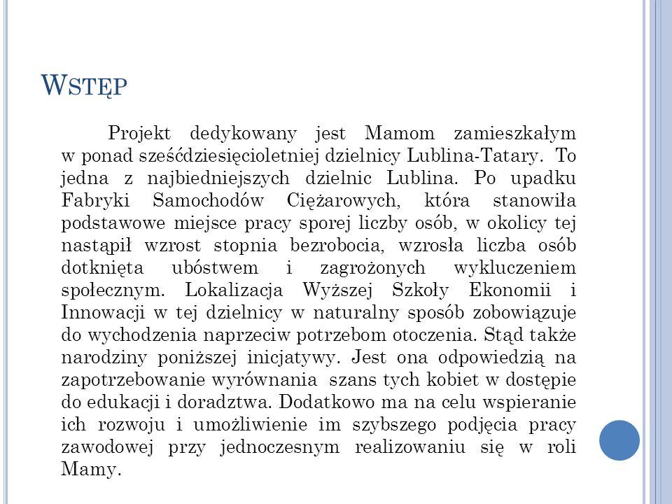 W STĘP Projekt dedykowany jest Mamom zamieszkałym w ponad sześćdziesięcioletniej dzielnicy Lublina-Tatary.