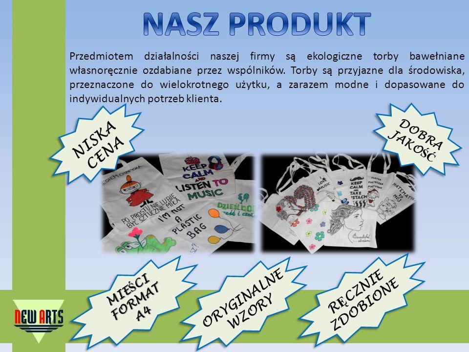 Przedmiotem działalności naszej firmy są ekologiczne torby bawełniane własnoręcznie ozdabiane przez wspólników.