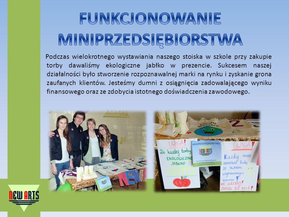 Podczas wielokrotnego wystawiania naszego stoiska w szkole przy zakupie torby dawaliśmy ekologiczne jabłko w prezencie.