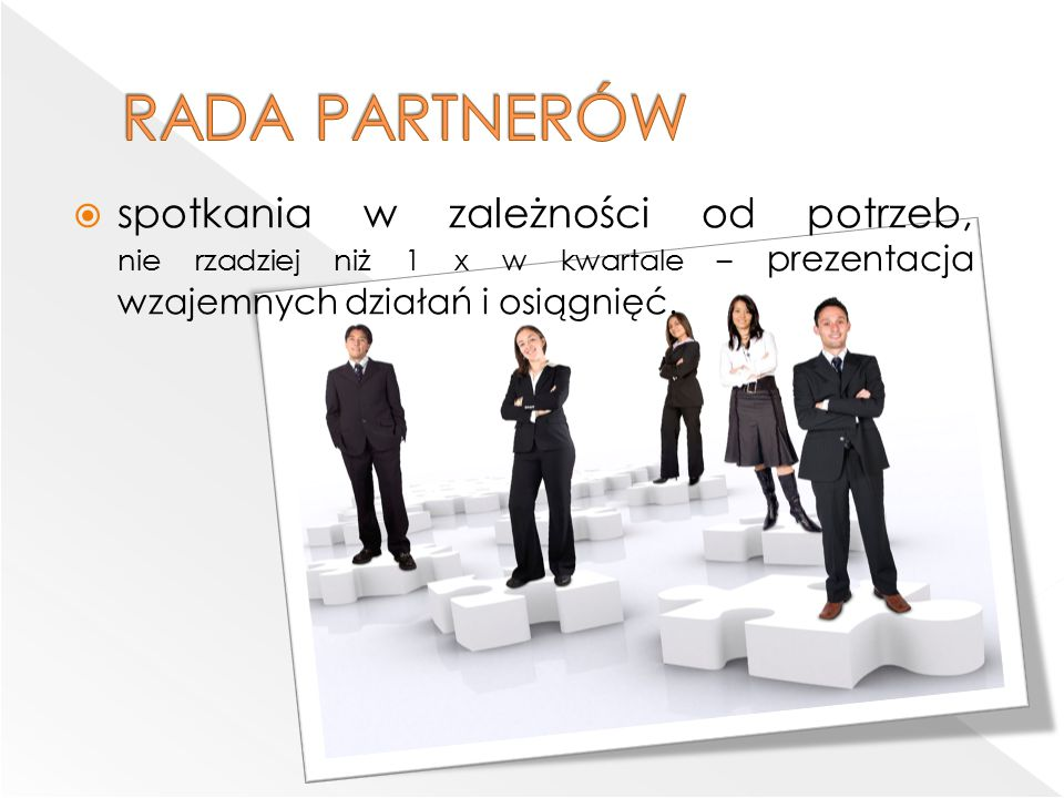  spotkania w zależności od potrzeb, nie rzadziej niż 1 x w kwartale – prezentacja wzajemnych działań i osiągnięć.