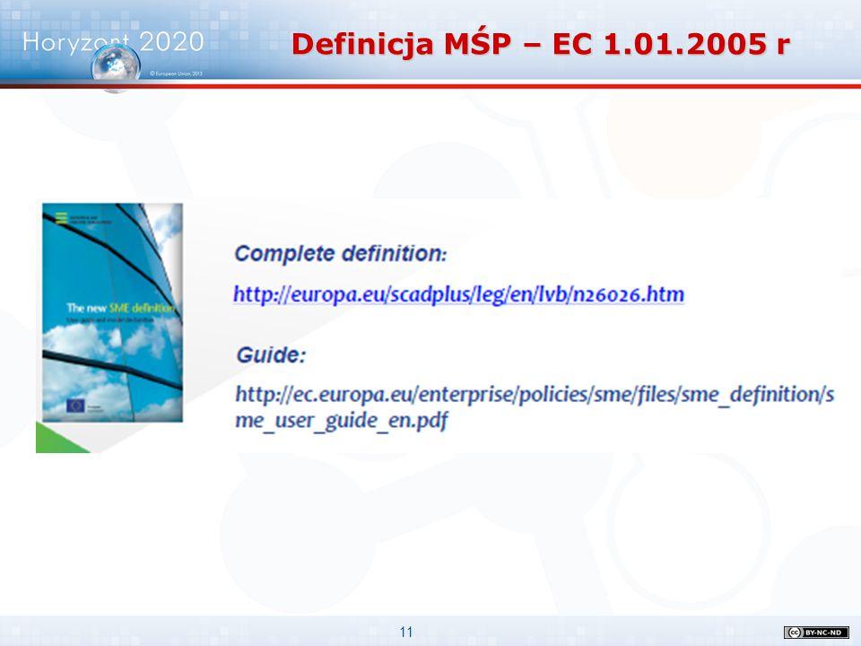 11 Definicja MŚP – EC 1.01.2005 r