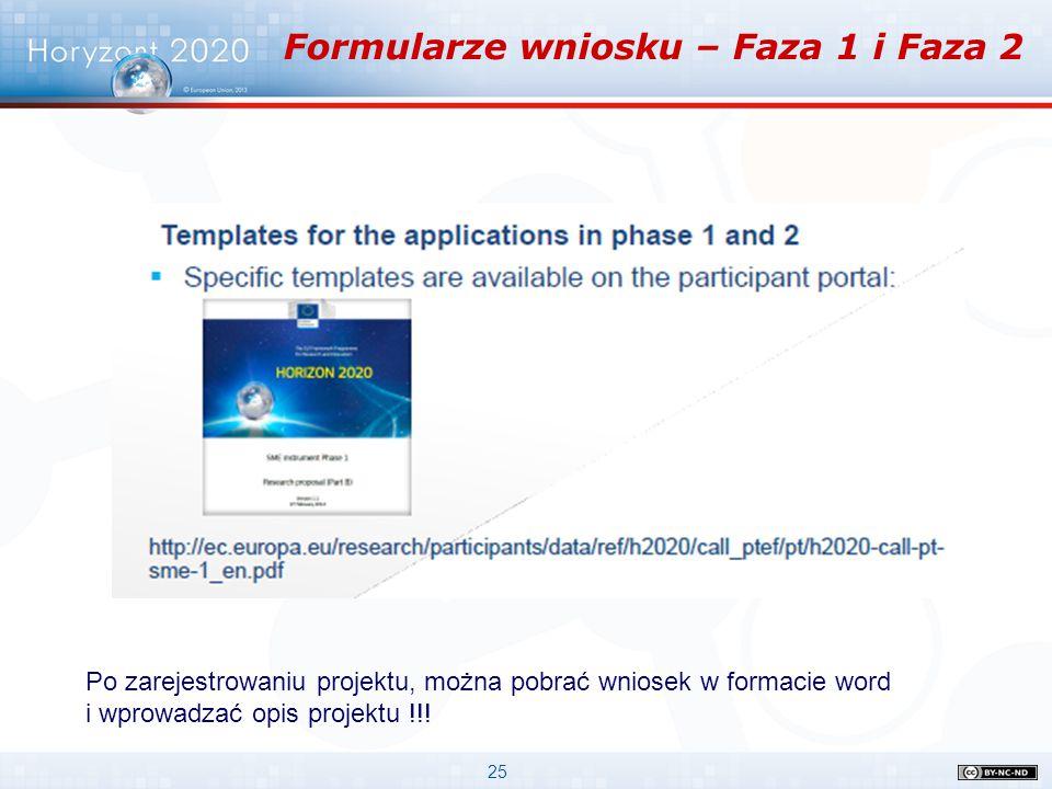 25 Formularze wniosku – Faza 1 i Faza 2 Po zarejestrowaniu projektu, można pobrać wniosek w formacie word i wprowadzać opis projektu !!!