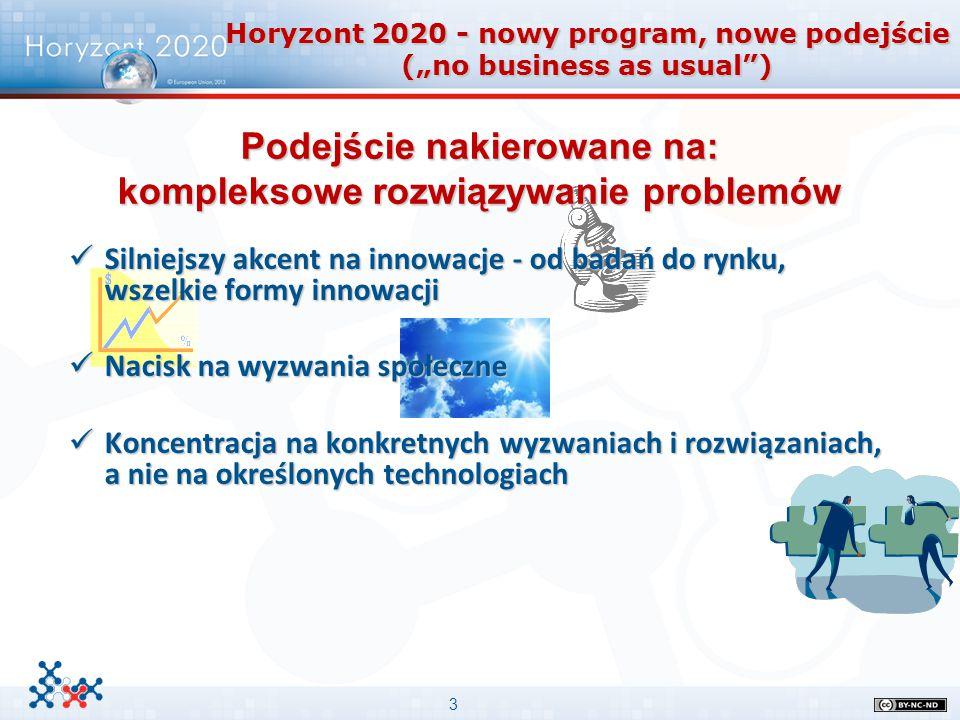 """3 Horyzont 2020 - nowy program, nowe podejście (""""no business as usual"""") Podejście nakierowane na: kompleksowe rozwiązywanie problemów Silniejszy akcen"""