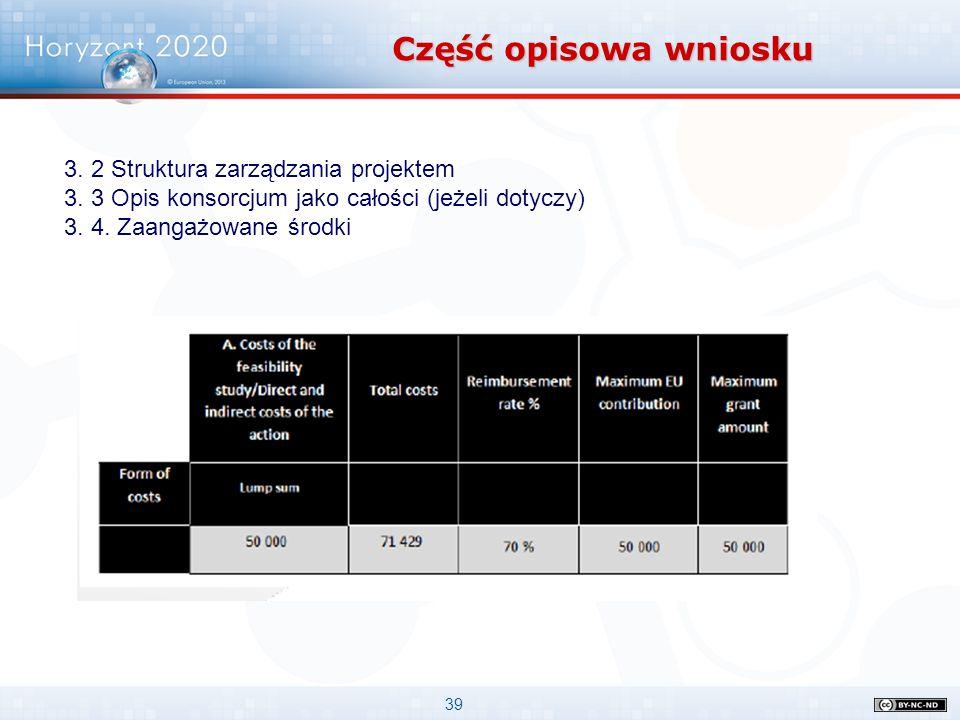 39 Część opisowa wniosku 3. 2 Struktura zarządzania projektem 3. 3 Opis konsorcjum jako całości (jeżeli dotyczy) 3. 4. Zaangażowane środki