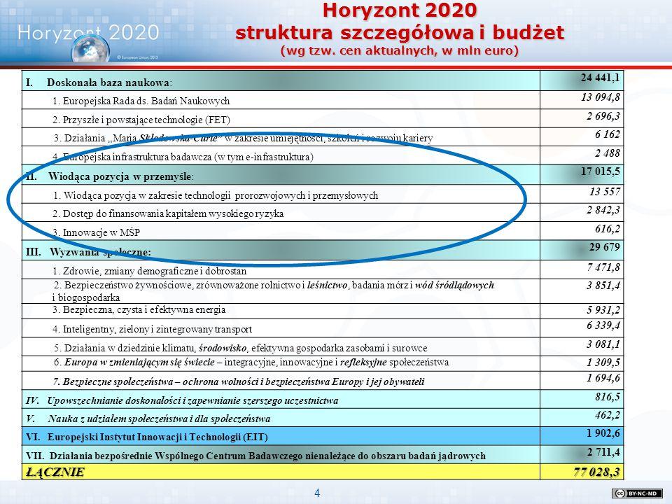 4 Horyzont 2020 struktura szczegółowa i budżet (wg tzw. cen aktualnych, w mln euro) I. Doskonała baza naukowa: 24 441,1 1. Europejska Rada ds. Badań N