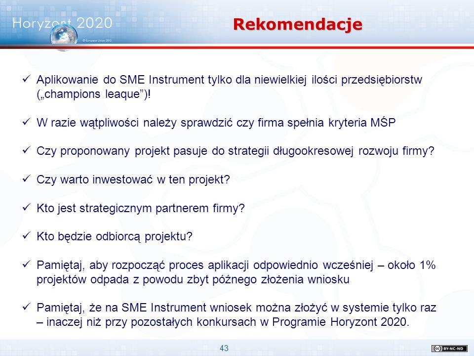"""43 Rekomendacje Aplikowanie do SME Instrument tylko dla niewielkiej ilości przedsiębiorstw (""""champions leaque"""")! W razie wątpliwości należy sprawdzić"""