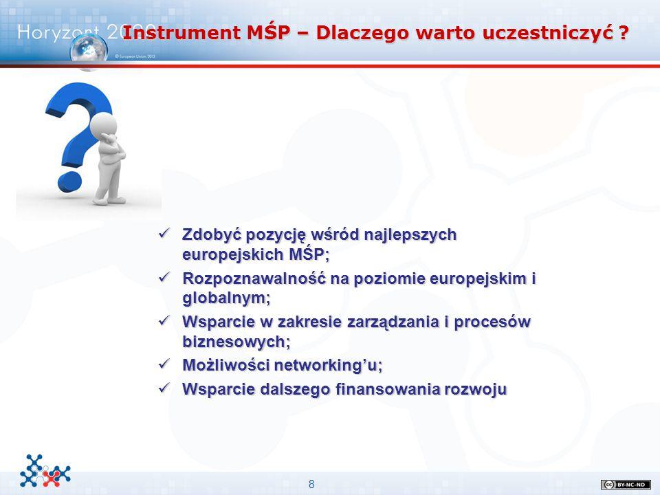 8 Instrument MŚP – Dlaczego warto uczestniczyć ? Zdobyć pozycję wśród najlepszych europejskich MŚP; Zdobyć pozycję wśród najlepszych europejskich MŚP;
