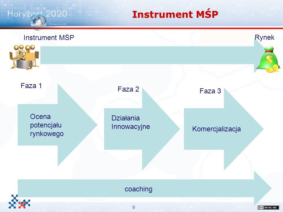 9 Instrument MŚP Rynek coaching Faza 1 Faza 2 Faza 3 Ocena potencjału rynkowego Działania Innowacyjne Komercjalizacja
