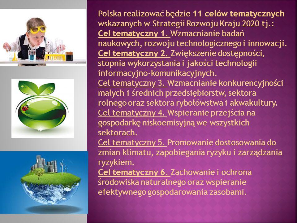 Polska realizować będzie 11 celów tematycznych wskazanych w Strategii Rozwoju Kraju 2020 tj.: Cel tematyczny 1. Wzmacnianie badań naukowych, rozwoju t